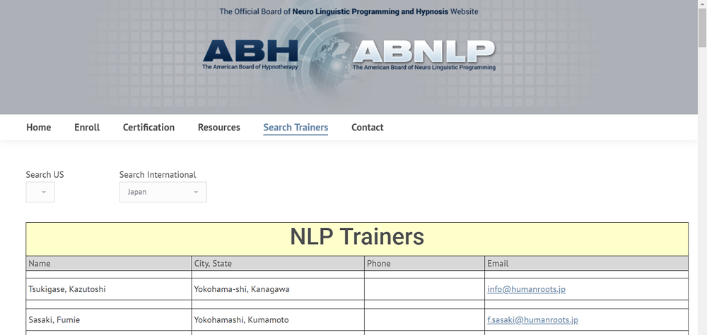全米NLP協会(The American Board of Neuro Linguistic Programming)本部HPより